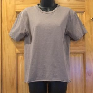 Topshop Nude Taupe Distressed Tee Shirt